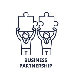 business partnership line icon concept business vector image