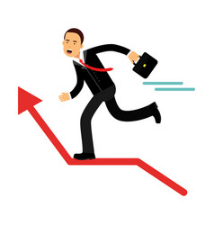 Businessman character running on the red raising vector