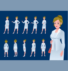 businesswoman character model sheet vector image