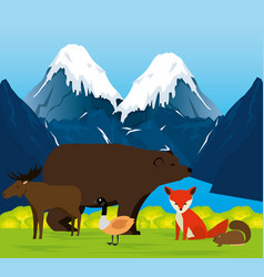 Canadian landscape with animals group scene vector