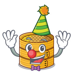 Clown wooden steamed food container on cartoon vector
