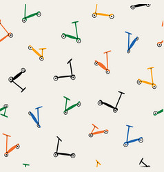colorful kick scooters retro pattern vector image