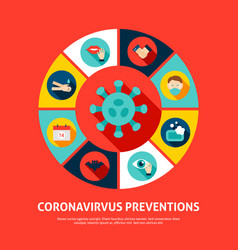 coronavirus prevention concept icons vector image