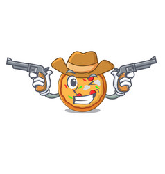 cowboy pizza character cartoon style vector image