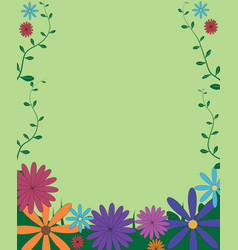decorative funny colorful floral background frame vector image
