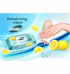 Desinfecting wet wipes with scent limon ad vector