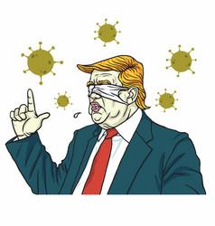 donald trump wear blind blinded mask coronavirus vector image