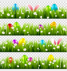 easter eggs on grass with bunny rabbit ears set vector image
