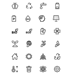 Ecology line icons 2 vector