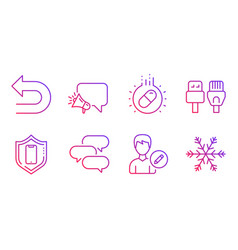 Edit person computer cables and undo icons set vector