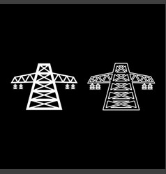 Electric pole post high voltage set line icon set vector