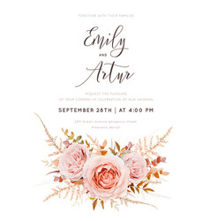 fall floral watercolor style wedding invite card vector image