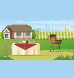 Family dinner on country house yard vector