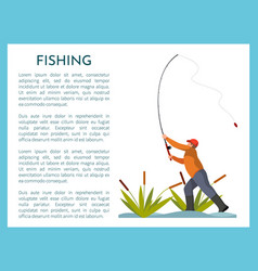 Fishing poster title with man vector