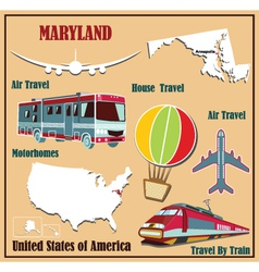 Flat map of Maryland vector image