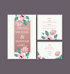 Floral charming wedding card design with anemone vector