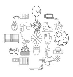 football field icons set outline style vector image