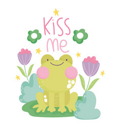 frog flowers decoration cartoon cute text vector image