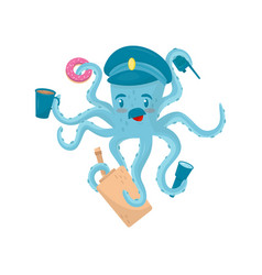 funny blue octopus with mustache in policeman s vector image