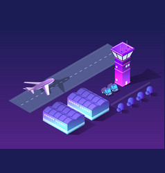 future 3d isometric airport vector image