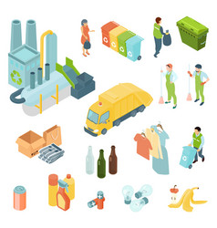 Garbage recycling isometric icons set vector