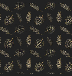 gold tropic leaves pattern vector image