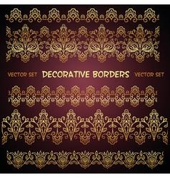 Golden decorative floral seamless borders vector
