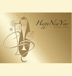 Golden happy new year greeting vector