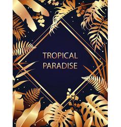 Golden tropical leaves border vector