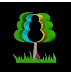 Graphical abstract tree on a black background vector