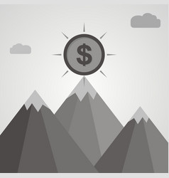 Gray coin on top of mountain business success vector