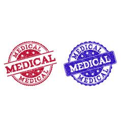 grunge scratched medical seal stamps vector image