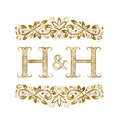 H and h vintage initials logo symbol vector