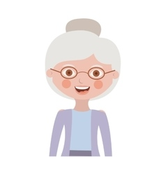 Half body elderly woman with jacket vector