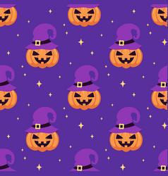 halloween seamless pattern of cute pumpkin vector image