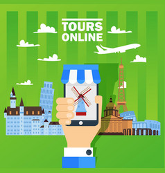 hand holding phone with online booking tour mobile vector image