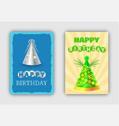 happy birthday templates of pretty festive cards vector image