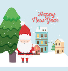 happy new year 2020 celebration cute santa tree vector image