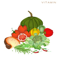 Health and nutrition benefits of vitamin foods vector