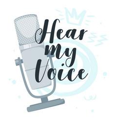 Hear my voice flat vector