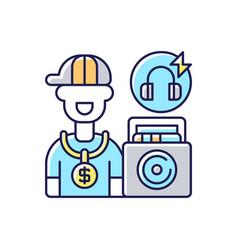 Hip hop music rgb color icon vector
