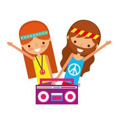 Hippie couple boombox radio retro vector