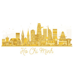 Ho chi minh vietnam city skyline golden silhouette vector