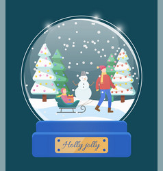 Holly jolly snow globe with dad and kid on sled vector