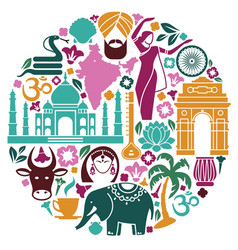 Icons of india in the form of a circle vector