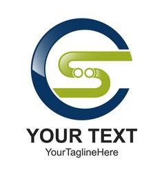 initial letter cs logo design template element vector image