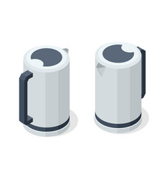 isometric electric kettle front and back view in vector image