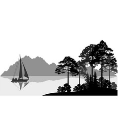 landscape with ship on lake vector image