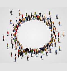 Large group of people in the chat bubble shape vector