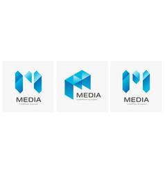 letter m concept media technology logo design vect vector image